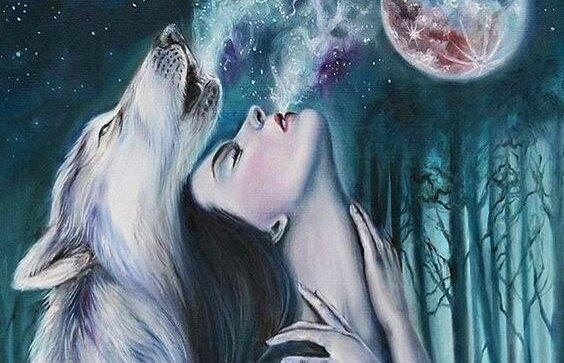 mujer-con-lobo